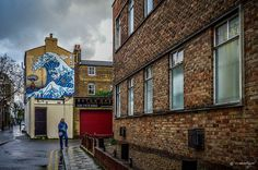 Hokusai Great Wave Mural in Camberwell, London -