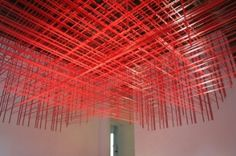 Fantastically Intricate Red Vinyl Tape Art Installation Rip 'N Pull by Rebecca Ward