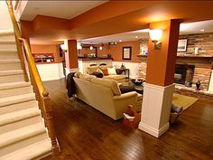 Chic Downtown Basement : Page 02 : Archive : Home & Garden Television - I love the warm colors and wood floors!