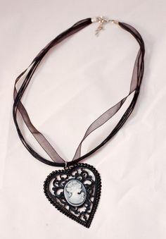 Black Cameo Necklace by AllisonHalkeyPhoto on Etsy, $15.00