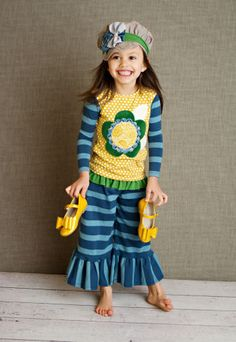 Persnickety Flower Tee and Blue Stripe Bell Pant PREORDER $104.00