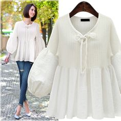 Plus Size Blouse Women Shirts Autumn Tops 3XL 4XL 5XL Casual V-neck Lantern Sleeve Long Sleeve Patchwork Knitted Blouses