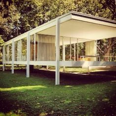 The Farnsworth House (1951) by architect Mies van der Rohe is one of the most famous examples of modernist architecture.  Located near Plano, IL.