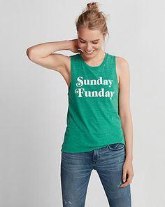 green sunday funday muscle tank