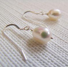 Long Earrings – LARMES earrings in sterling silver and pearls – a unique product by kalicat on DaWanda