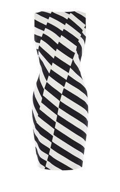 Karen Millen, BARCODE DRESS Black & White
