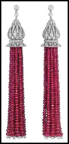 Diamond and Burmese ruby tassel earrings. Via Diamonds in the Library.