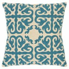 """Hand-embroidered cotton canvas pillow with a blue medallion motif.  Product: Set of 2 pillowsConstruction Material: Cotton canvasColor: BlueFeatures: Inserts includedDimensions: 18"""" x 18"""" each"""