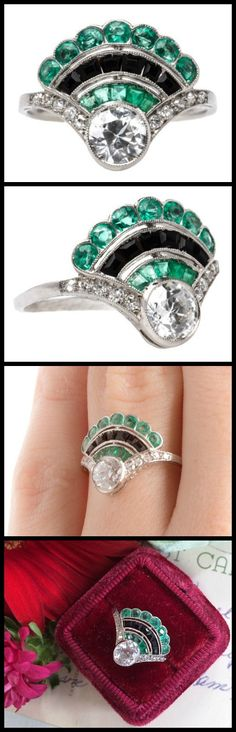An antique Art Deco fan ring with diamonds, emeralds, and onyx; from the 1920's. At Trumpet and Horn.
