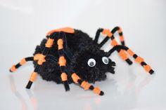 We gaan nu een spin knutselen d.m.v. pompons en pijpenragers. Bekijk onze stappenplan op onze website hoe je een enge spin van wol maakt.