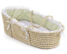 This pretty Natural Moses Basket with Sage Gingham Bedding creates a space for Baby anywhere in the house! When Baby outgrows the Moses Basket, use it as a place for storing stuffed animals or linens, or as a bed for dolls or pets. Baby Moses, Mattress Pad, Foam Mattress, Moses Basket Bedding, Cradles And Bassinets, Storing Stuffed Animals, Baby Inside, Natural Baby, Cleaning Wipes