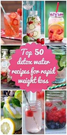 Browse over these top 50 detox water recipes to support weight loss and good health. You'll love the taste, ingredients and ease of making these yummy detox water recipes. Bebidas Detox, Infused Water Recipes, Fruit Infused Water, Infused Waters, Flavored Waters, Water Infusion Recipes, Water Detox Recipes, Fruit Water Recipes, Healthy Treats