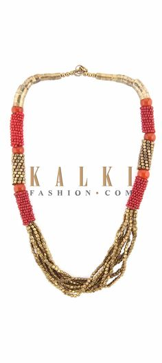 Buy Online from the link below. We ship worldwide (Free Shipping over US$100) Price-$19 Click Anywhere to Tag http://www.kalkifashion.com/gold-and-red-moti-embellished-necklace-only-on-kalki.html