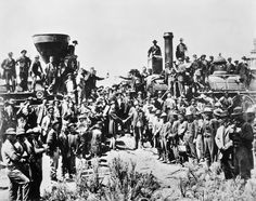 On March 10, 1869, railroad officials, political leaders and work gangs converged at Promontory Point, Utah, to drive in the last spike of the Pacific Railroad, the first of five transcontinental railroads built in the 19th century. The driving of the spike linked the Union Pacific line built from East to West with the Central Pacific, which had commenced construction in California.