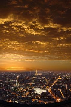 Sunset over Paris, France by Batistini Gaston