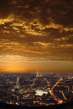 Sunset over Paris, France by Batistini Gaston