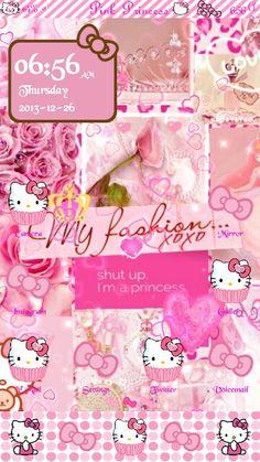 Pink hello kitty princess samsung galaxy s3 homescreen. #Prettydroid themes