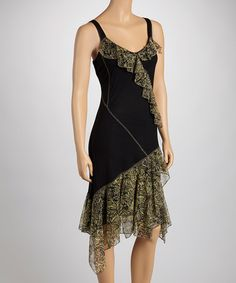 Take a look at this Black & Green Ruffle Sleeveless Dress by Tango Mango on #zulily today!