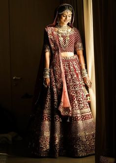 Maroon & Golden Heavy Embrodered Bridal Lehenga