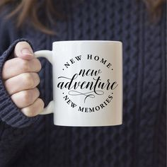 House Warming Gift New Home New Adventure New Memories Mug Boyfriend Gift Basket, Boyfriend Gifts, Real Estate Gifts, New Homeowner Gift, Christmas Party Favors, Christmas Crafts, Home Buying Tips, Realtor Gifts, Office Items