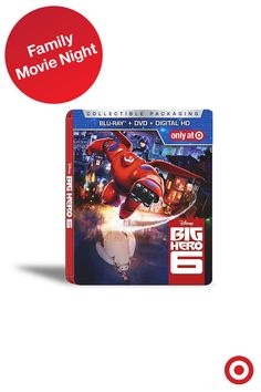Round up the crew! Disney's Big Hero 6 is available on DVD/Blu-ray and is a winning pick for a cram-the-couch family movie night. Plus, this collectible SteelbookTM case is available only at Target.