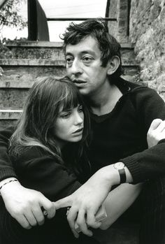 black and white, couples, famous couple, gainsbourg, jane birkin, love