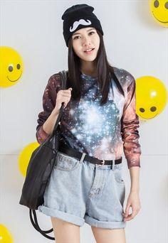 Unisex+Couple+Galaxy+Sweatshirt