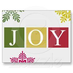 Joy Christmas Snowflakes Postcard