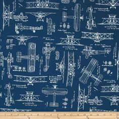 Kaufman Vintage Blue Prints Bi-Planes Indigo from @fabricdotcom  Designed by Savannah Lindsay for Robert Kaufman, this fabric is perfect for quilting, apparel, and home décor accents. Colors include blue and white.