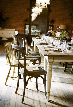 mix match chairs with farm table for the back patio :)