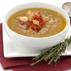 Chestnut soup with bacon and thyme croutons - quick, easy and low-fat!