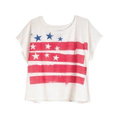 Stars And Stripes Tee (7.86 AUD) ❤ liked on Polyvore featuring tops, t-shirts, shirts, tees, graphic tees, red striped shirt, tee-shirt, red striped t shirt, striped t shirt and red stripe t shirt