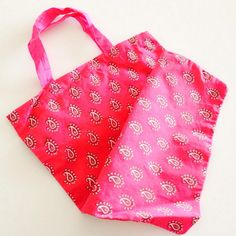 Reusable bag/Handmade patterned fabric gift bag/Small by sudarium