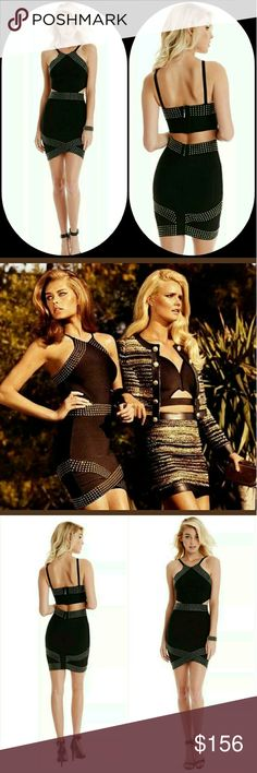 "🚫🚨SOLD🚨🛇 As seen in Elle magazine  Show some skin in this downtown-chic bandage dress. Gunmetal studs and angular cut-outs set this piece apart for your ultimate nightlife look.  Knit bandage dress. High neckline. Thin shoulder straps. Body-con fit.  Gunmetal-tone stud embellishments. Geometric cutouts at sides and back.  Hidden zipper back closure  Measures approximately 25.25"" from shoulder to hem  87% Rayon, 11% Nylon, 2% Spandex  Hand wash Guess by Marciano Dresses Mini"