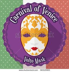 Commemorative round button for Carnival of Venice with beautiful volto mask design decorated with fine gilded details in flat design and long shadow effect and the Italian flag in the background.