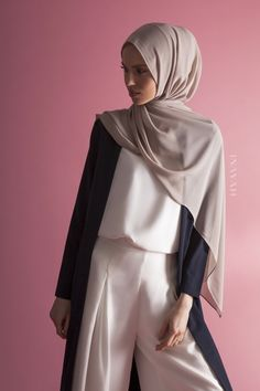 INAYAH | Understated designs, perfect for everyday styling - Navy #Maxi #Coat with Pockets + White Crepe #Top + White Front #Pleat #Palazzos + Light Mushroom Soft Crepe #Hijab - www.inayah.co