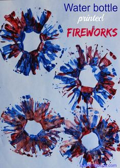 Water bottle printed fireworks. Simple to do and it is beautiful! Makes an excellent idea for new year or July 4th!