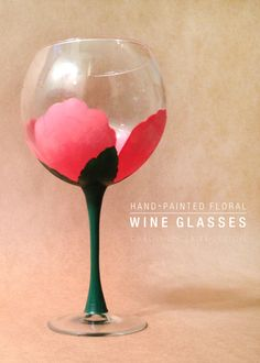 hand-painted floral wine glasses |