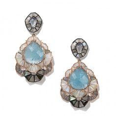 Nak Armstrong Milky White Sapphire, Aquamarine, Rainbow Moonstone, Green Tourmaline and Labradorite Earrings
