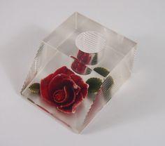 Vintage 60s Lucite Carved Red Roses Lipstick Holder Case Vanity