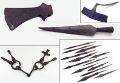 Findings from a man's grave at Sollerön in Dalarna. Top ax, cutting edge and currycomb. At the bottom of the remains of a bridle and a collection of arrowheads.