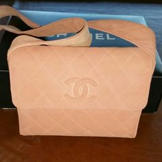 Chanel Peachy Pink Suede Authentic Chanel Suede Flap Shoulder Bag. Very cute design, super clean inside and out.  9 x 9 x 2, serial tag in tact. Dust bag included. CHANEL Bags Shoulder Bags