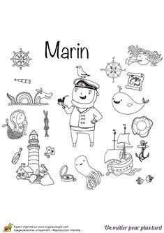 Un marin avec sa pipe entouré d'animaux sous-marin, d'un phare et d'un bateau, illustration à colorer