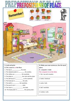 English Worksheets Prepositions Of Place Learning English For Kids, Teaching English Grammar, English Worksheets For Kids, English Lessons For Kids, Kids English, English Activities, Learn English, Learning Italian, French Lessons