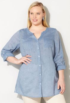 Shop cool and breezy fabrics like our plus size Pleated Chambray Tunic Shirt available online at avenue.com. Avenue Store