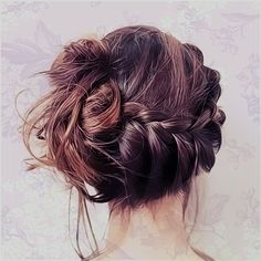 braid upwards + messy updo combo