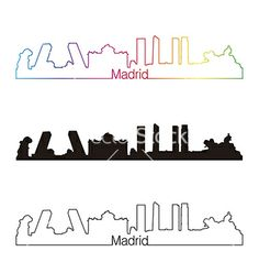 Madrid skyline linear style with rainbow vector by paulrommer on VectorStock®