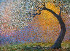 Japanese Garden Ton Dubbeldam Ton Dubbeldam t Impressionist Landscape, Landscape Art, Landscape Paintings, Mandala Painting, Dot Painting, Dutch Painters, Dutch Artists, Naive Art, Aboriginal Art