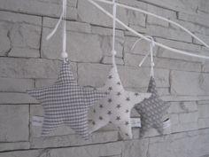 Weihnachtsdeko - 3er Stoff-X-Mas Sternset in grau - ein Designerstück von allesausliebe bei DaWanda
