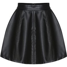 Zipper PU Flare Skirt ($15) ❤ liked on Polyvore featuring skirts, black, knee length bodycon skirt, black skirt, black bodycon skirt, circle skirt and knee high skirts